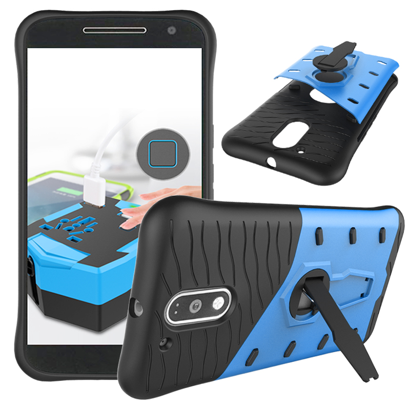 360 Degree Rotation Holder Back Cover For Motorola Moto G4 Plus Play TPU + PC Plastic Hybrid Armor Shockproof Stand Case