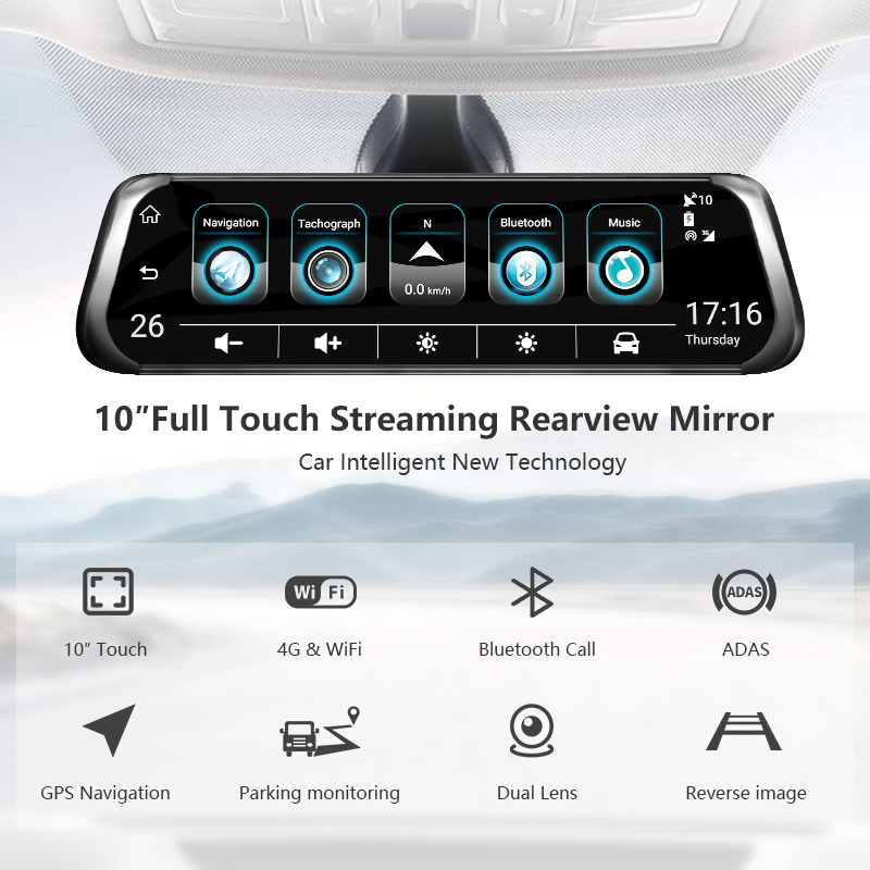 Jansite 10 4G wifi Автомобильный видеорегистратор сенсорный экран двойной объектив Универсальный Android gps навигация зеркало заднего вида Автомобильные камеры ADAS Bluetooth - 2