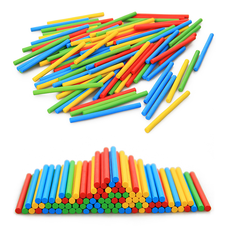 100Pcs Montessori Mathematics Toys Chopsticks Colorful Counting Sticks Bamboo Educational Wood Toys For Children Colors & Shapes