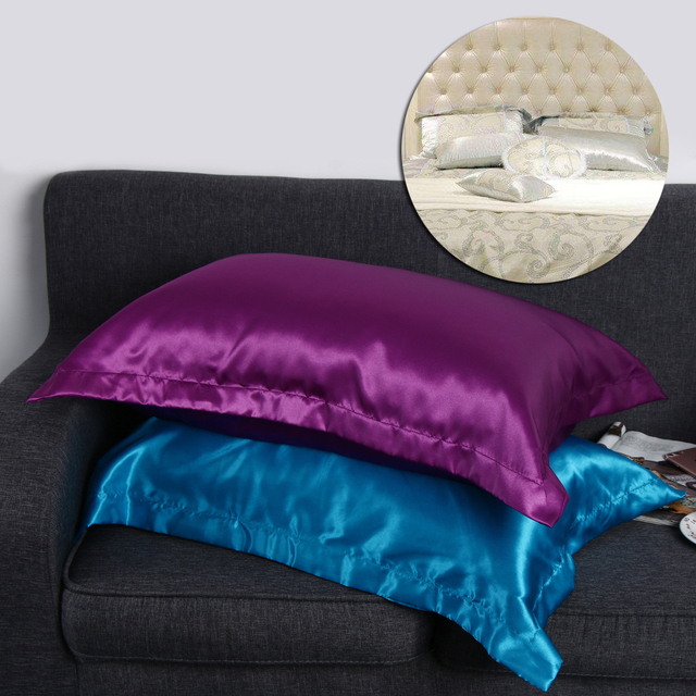 50 X 70cm Imitation Silk Soft Queen Pillow Case Multi Colors Home Bedding Pillowcase High Quality Solid Smooth Pillow Case