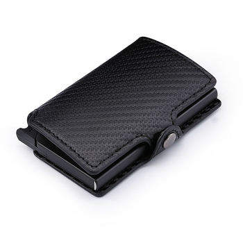 Casekey Luxury Carbon Fiber Mini Pop Up Rfid Wallet for Men Slim Leather Business ID Credit Card Pocket Holder Wallet