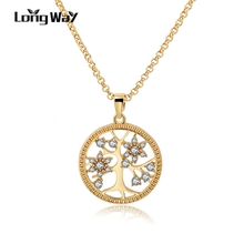 LongWay Gold Color Chain Necklace With Crystal Tree of Life Pendant Round Shape Necklaces for Women