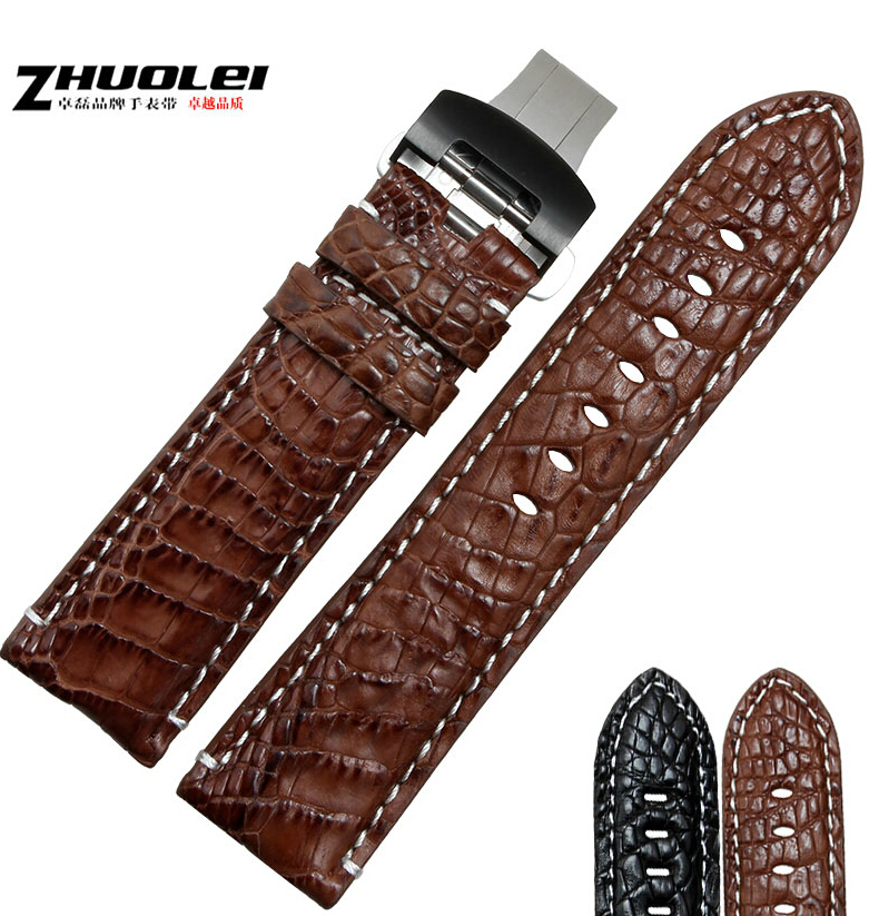22mm 24mm 26mm New Mens black alligator genuine leather watch band butterfly Watch Buckle new mens genuine leather watch strap bands bracelets black alligator leather 18mm 19mm 20mm 21mm 22mm 24mm without buckle