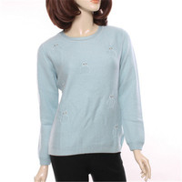 100%goat cashmere Oneck thick knit women fashion cute owl printed pullover sweater light blue 2color S 2XL