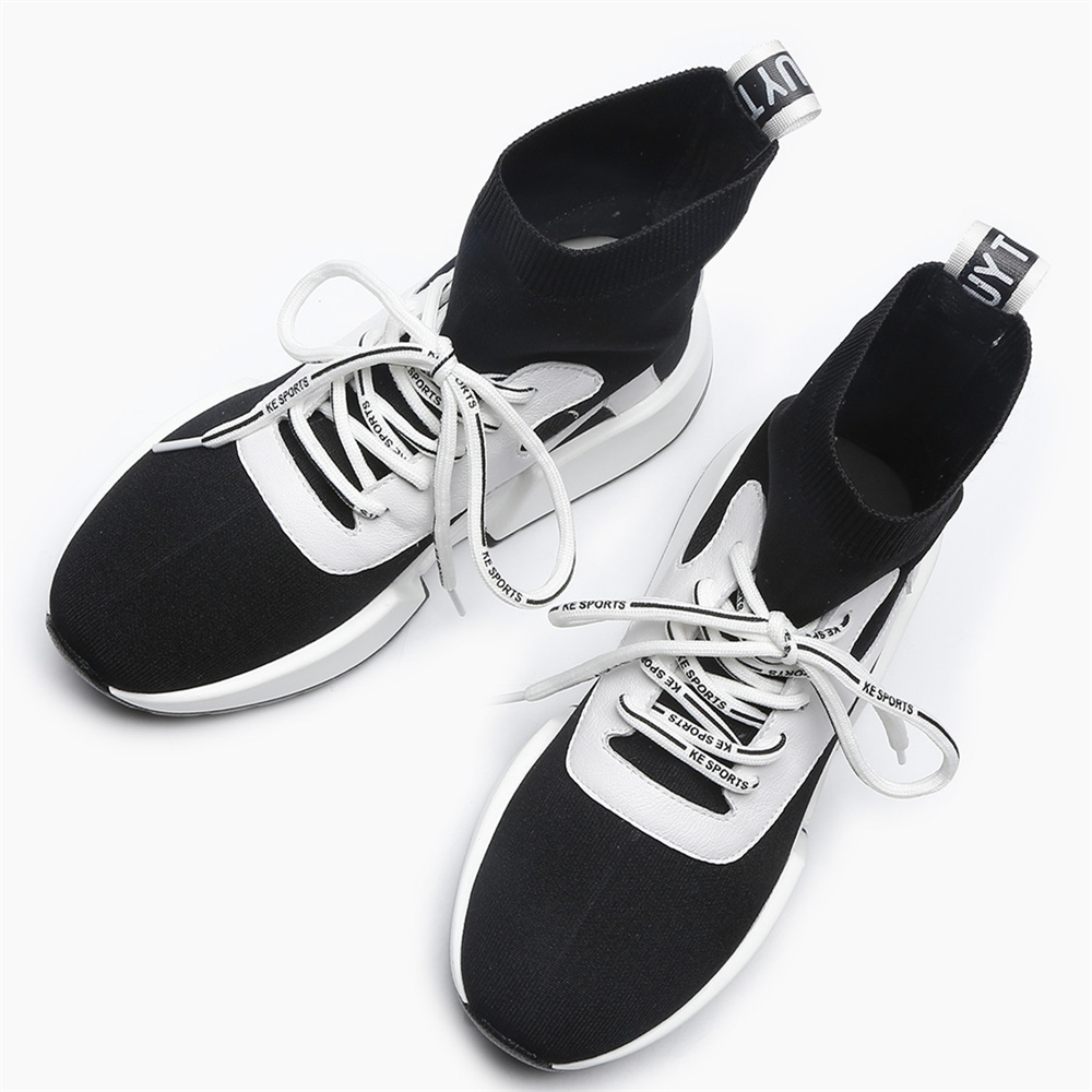 Punta Negro Plataforma Botas Zapatillas Elástico Tacón Deporte Punto De Antideslizante Black Stylesowner Mujer And Redonda Calcetines Grueso Encaje Moda white Zapatos 1vYwCSnTq
