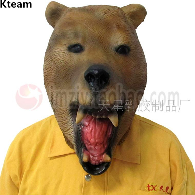 Adult Novelty Fancy Dress Rubber Latex Grizzly Bear Mask Halloween ...