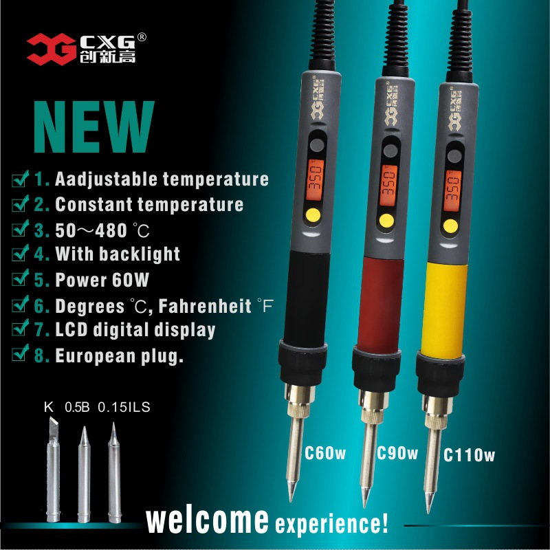 CXG C60W C90W C110W Solder Iron LCD Adjustable Temperature NCT Digital Display Electric Soldering Iron C9 tip EU 220V US 110V 1pcs 9v lcd digital display thermometers for soldering iron tip temperature line