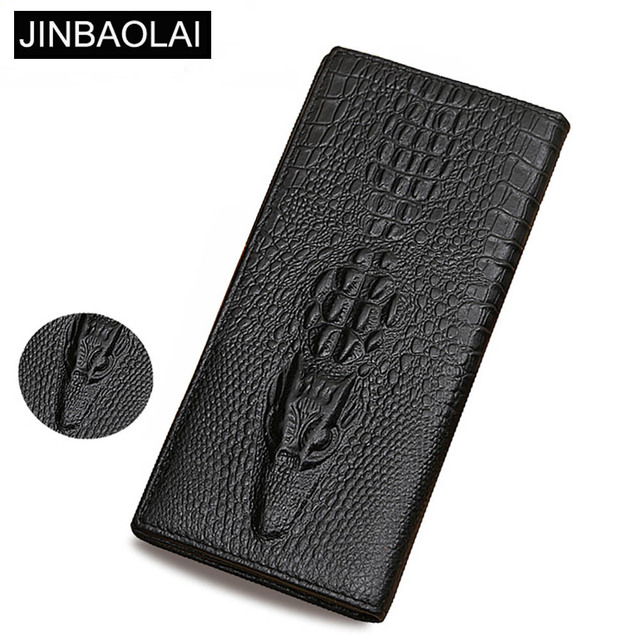 ad3ddc6227ed JINBAOLAI Genuine Leather Men Wallets Crocodile pattern Coin Pocket Long  Male Purse Retro High Quality Card Holder Men Purse
