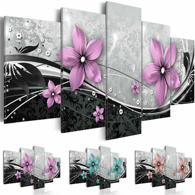 Modern Painting Canvas 5 Panels Wall Art  Modular Pictures Beautiful Flowers Combination Paintings for Living Room