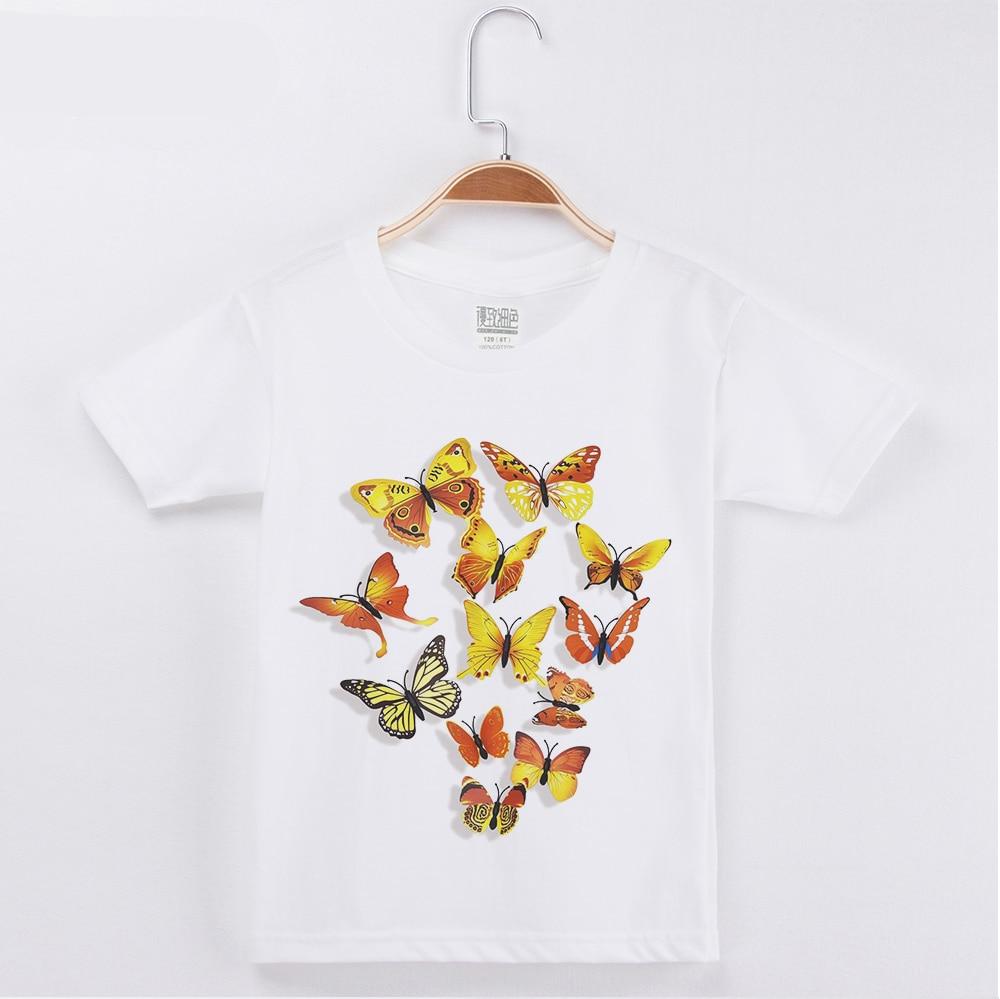 2019 Venda Quente Crianças Roupas Crianças T-shirt Bonito Borboleta 3D Impressão Algodão Menino Camisas Curtas T Tops Da Menina Do Bebê da Criança camisa