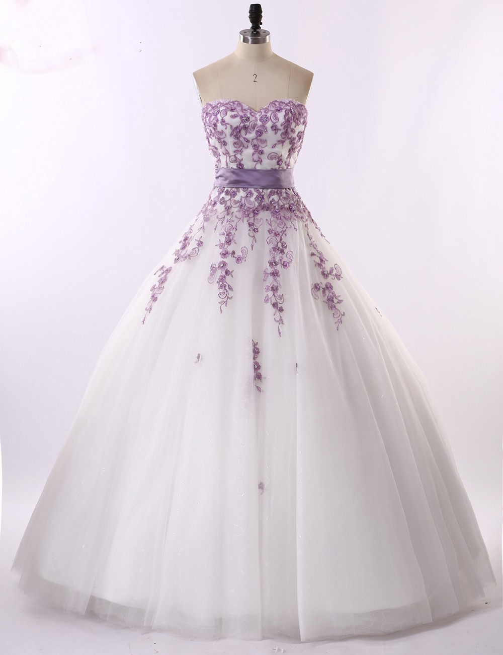 Real photo white and light purple sweetheart wedding for Wedding dress with purple embroidery