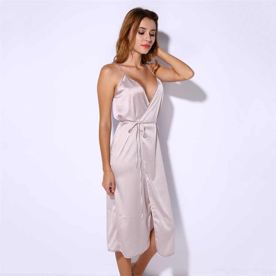 963d32f7c4f7 ... Long Satin Nightgown Comfy Deep V Nightie Sexy A-Line Wrap Slip Split  Party Dresses ...