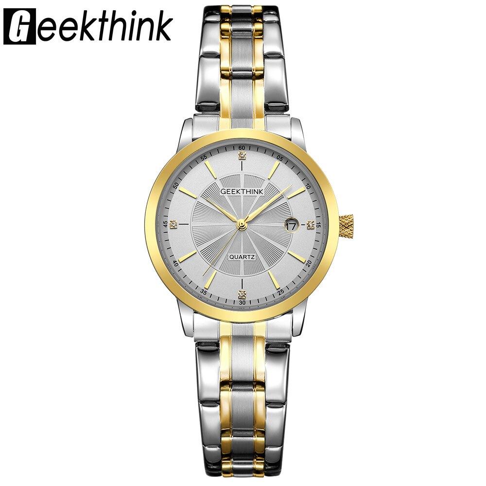 Geekthink moda de oro de acero inoxidable reloj de cuarzo mujeres Top marca de lujo unisex reloj del amante reloj femenino