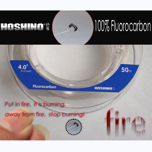 [HOSHINO] 50M*2pieces/lot 100% Fluorocarbon transparent Fishing Leader line for Braid Fishing Line