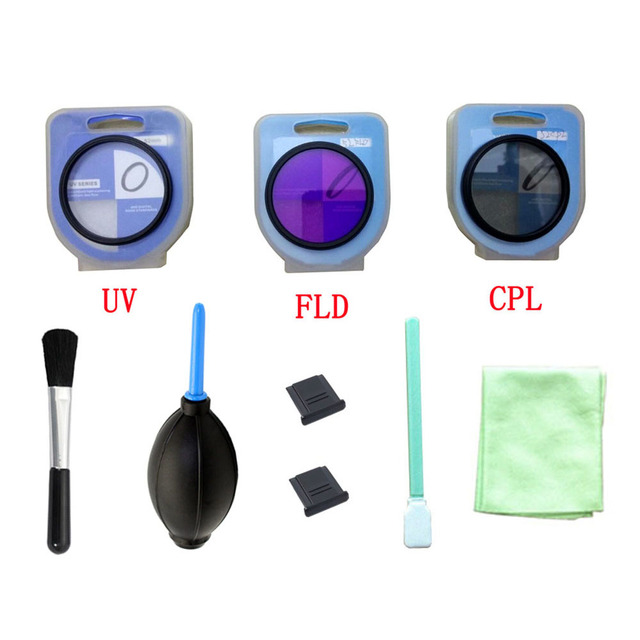 9 in 1  lens UV FLD CPL Digital Filter with box + camera clean kit + 2 hot shoe cover for canon nikon DSLR SLR Camera  *