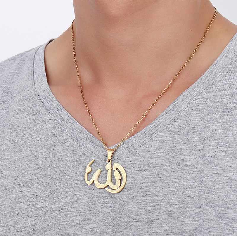 Fashion Mens Necklaces Pendants Stainless Steel Gold-color Allah Pendant Necklace Colar Collier Vintage Unisex Jewelry 20 inch