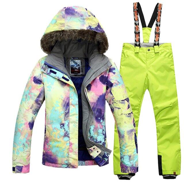 ceb446dd4d Gsou Snow Women Ski Suit+Pants Snowboard Jacket Women Winter Female Jacket  Sports Suits Ski Set Free Shipping Women Ski Jacket