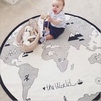 Cotton Hot Sale Round Carpet for Baby Play and Crawl Diameter 135cm World Map Print Play Rugs Children Living Room