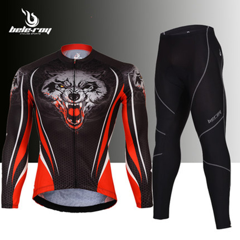 Men autumn Cycling Set Full Zipper Long Sleeve Bike Jersey & Padded Bicycle Pants Windproof MTB Road Bike suits Apparel