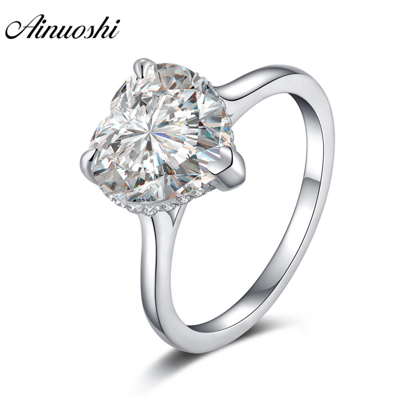 AINOUSHI Luxury 925 Sterling Silver Solitaire Rings 4 Carats Heart Engagement Wedding Halo Rings anillos plata 925 para mujerAINOUSHI Luxury 925 Sterling Silver Solitaire Rings 4 Carats Heart Engagement Wedding Halo Rings anillos plata 925 para mujer