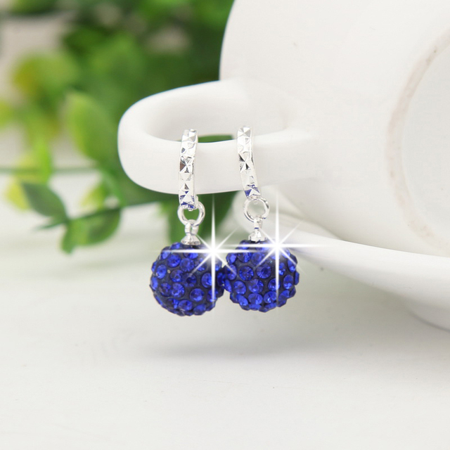 Silver Color Circular Drop Earrings female Flash Retro Crystal