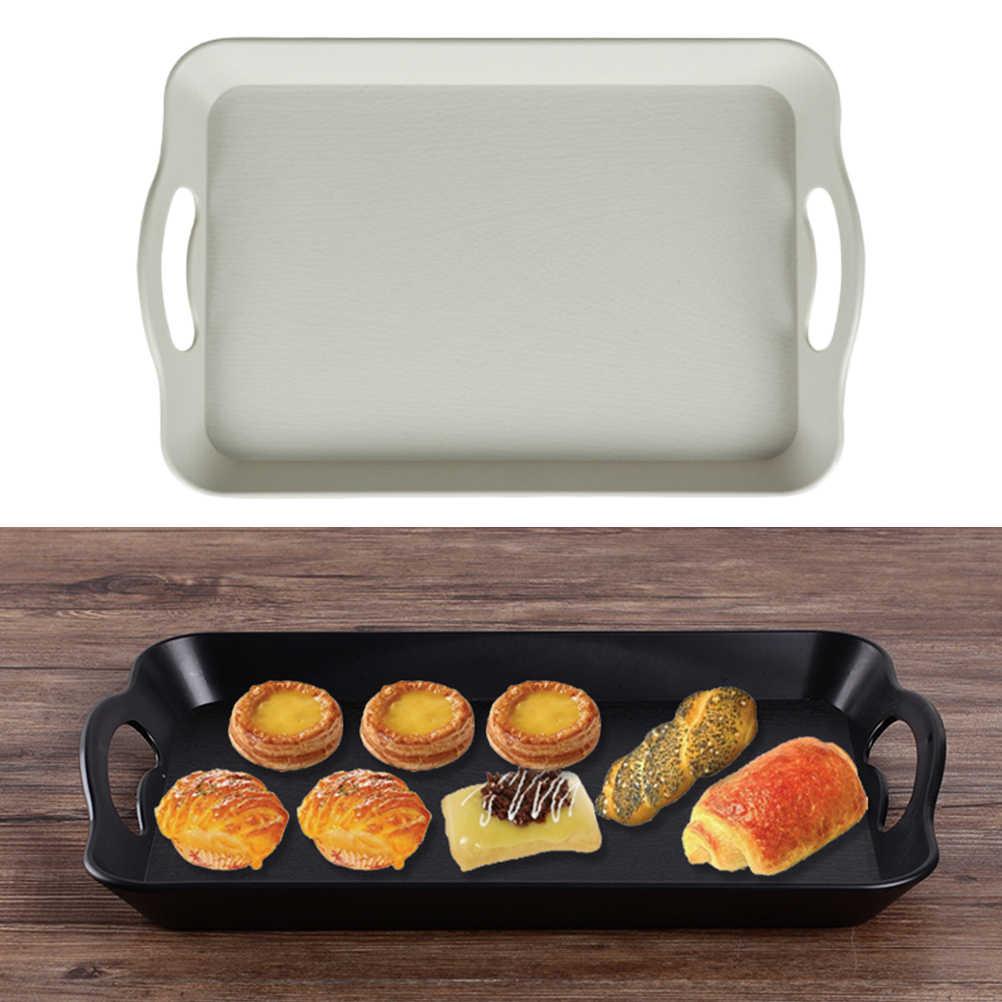 2 Pcs Makanan Melayani Nampan Melamin Persegi Panjang Non Slip Roti Buah Makan Malam Display Tray Piring dengan Handle untuk Restoran Bar