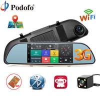 Podofo Car DVR 3G Touch Mirror Camera 7 Dash Cam Full HD 1080P Video Recorder Camera