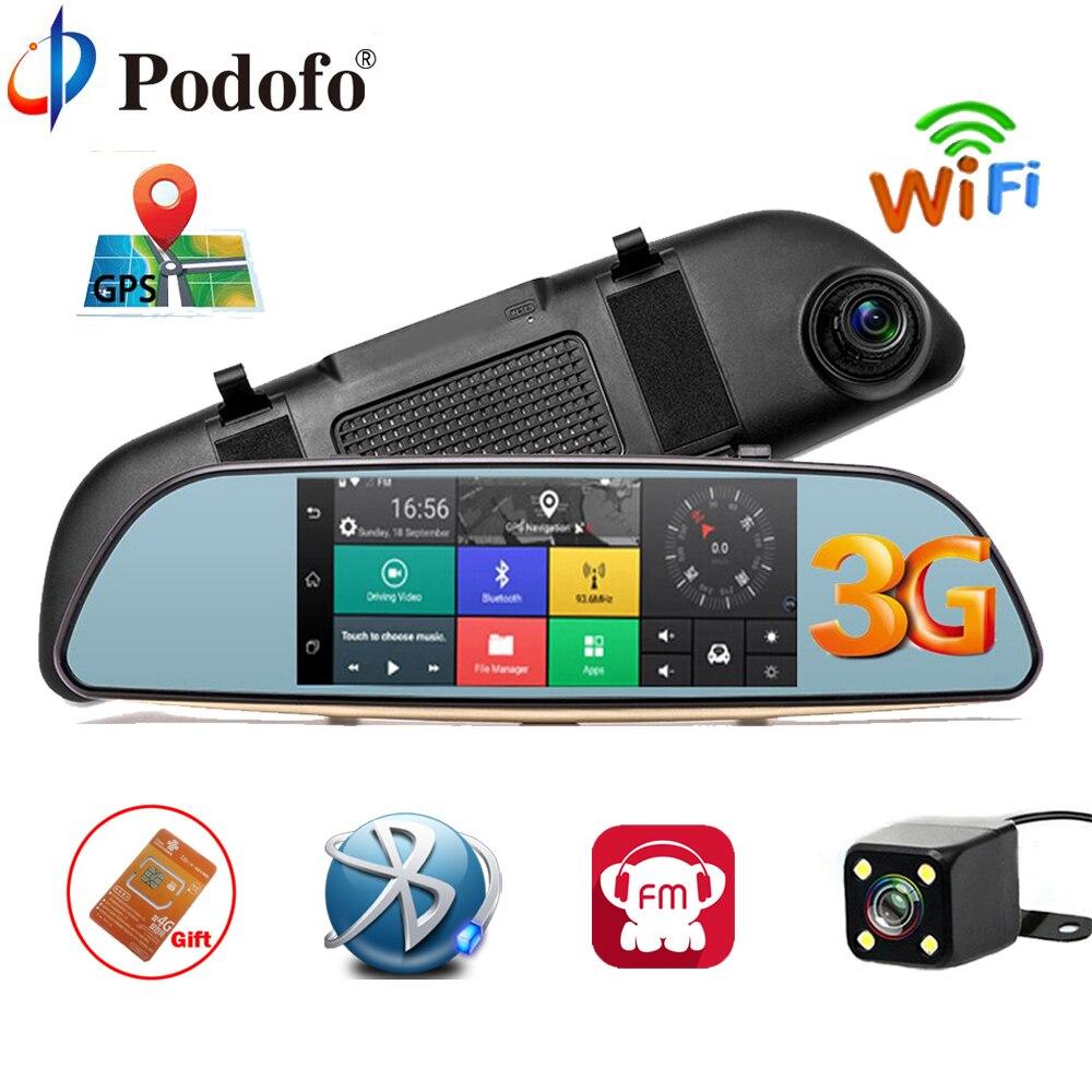 Podofo Car DVR 3G Touch Mirror Camera 7 Dash Cam Full HD 1080P Video Recorder Camera Android 5.0 GPS Rearview Mirror Registrar cu200 7 gps 3g car dvr камера ночного видения dash cam rearview mirror video recorder hd 1080p g sensor loop recording