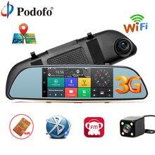 Podofo Видеорегистраторы для автомобилей 3g сенсорный зеркало Камера 7 «регистраторы Full HD 1080 P видео Регистраторы Камера Android 5,0 gps зеркало заднего вида Регистратор