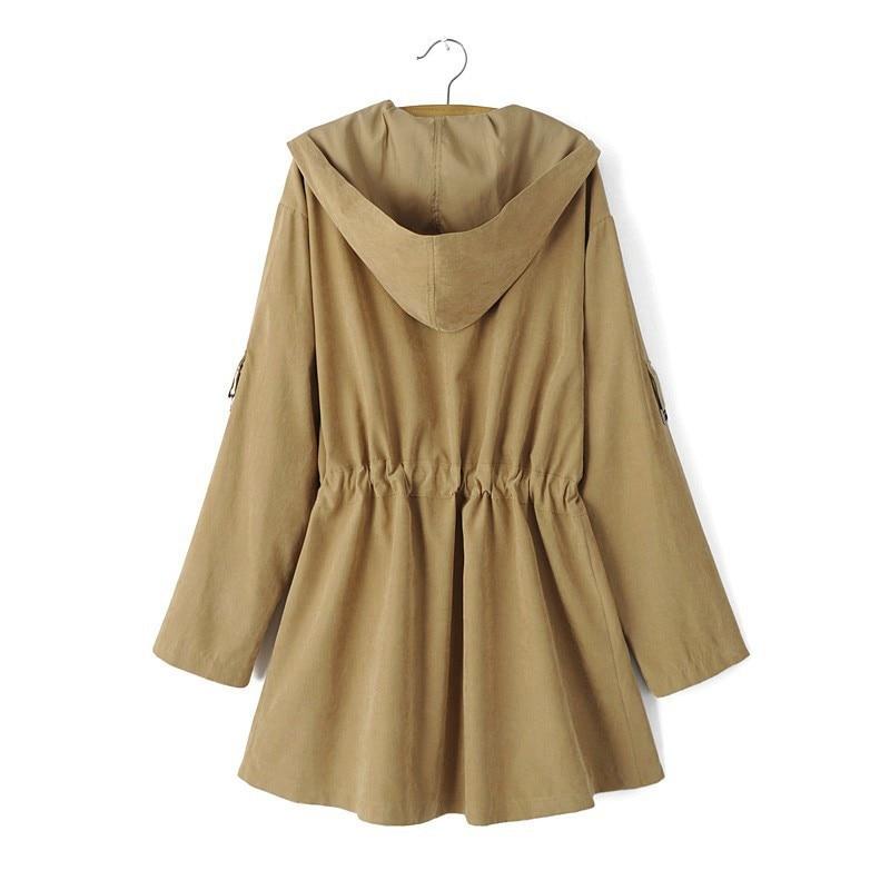 HTB1gOkAd5FTMKJjSZFAq6AkJpXaC New 2019 Women Jack Coat Autumn Long Sleeve Hooded Coat Jacket Casual Elastic Waist Pocket Kimono Female Loose Outwear