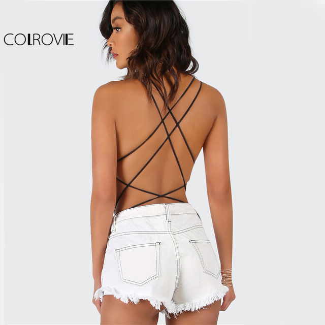 COLROVIE Strappy Backless Bodysuit Women Black Sleeveless Summer Beach Hot Bodysuits Navy Scoop Neck Cross Slim Cami Bodysuit 1