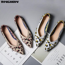 TINGHON New Spring Women Flats Shoes Leopard Print Casual Single Ballerina Shallow Mouth