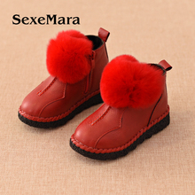 Spring and winter new children plus cashmere boots Girls real hair boots Plush princess shoes Baby warm cotton shoes