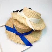 Mujeres verano playa rafia negro blanco cinta arco sombrero de rafia  temperamento paja plana sombreros de ab929ed6f70