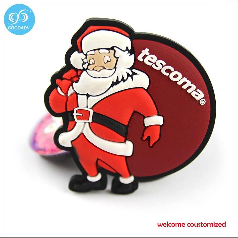 Father christmas santa claus plastic pvc decorating fridge magnet , cute cartoon fridge magnets only welcome customer design