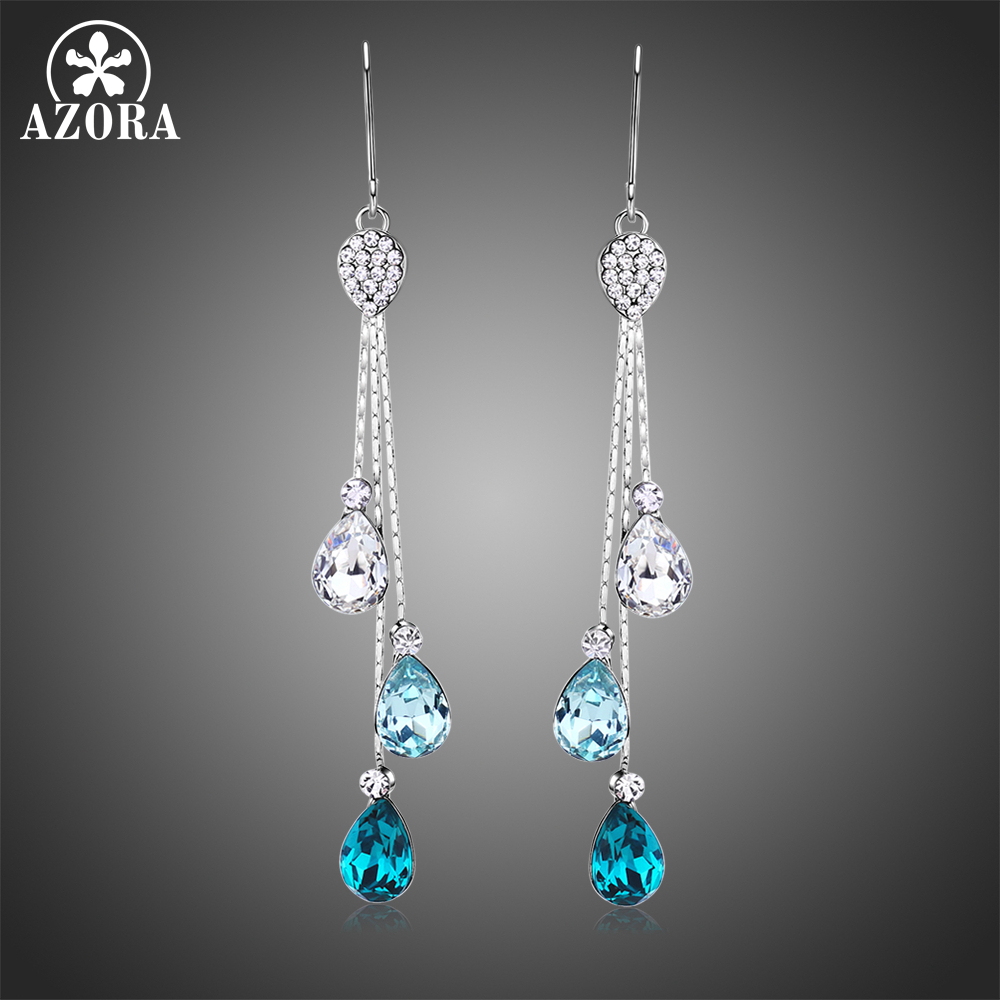 AZORA Fashionable Multicolor Austrian Crystal Drop Earrings Three Water Drop Dangle Bridal Jewelry for Wedding Long Chain TE0342 three button design drop earrings
