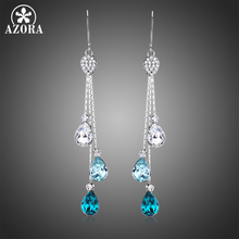 AZORA Fashionable Multicolor Austrian Crystal Drop Earrings Three Water Drop Dangle Bridal Jewelry for Wedding Long Chain TE0342