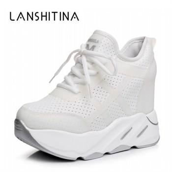 New 2020 Autumn Women Breathable Platform Casual Shoes Height Increased Vulcanized 12 CM Thick Sole Zapatos Mujer