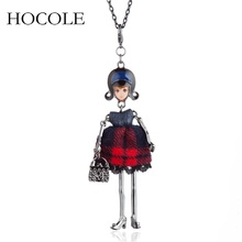 цена на Lovely Leather Plaid Dress Doll Necklaces&Pendants Handmade Long Chain French Girl Statement Jewelry For Women Collier Femme