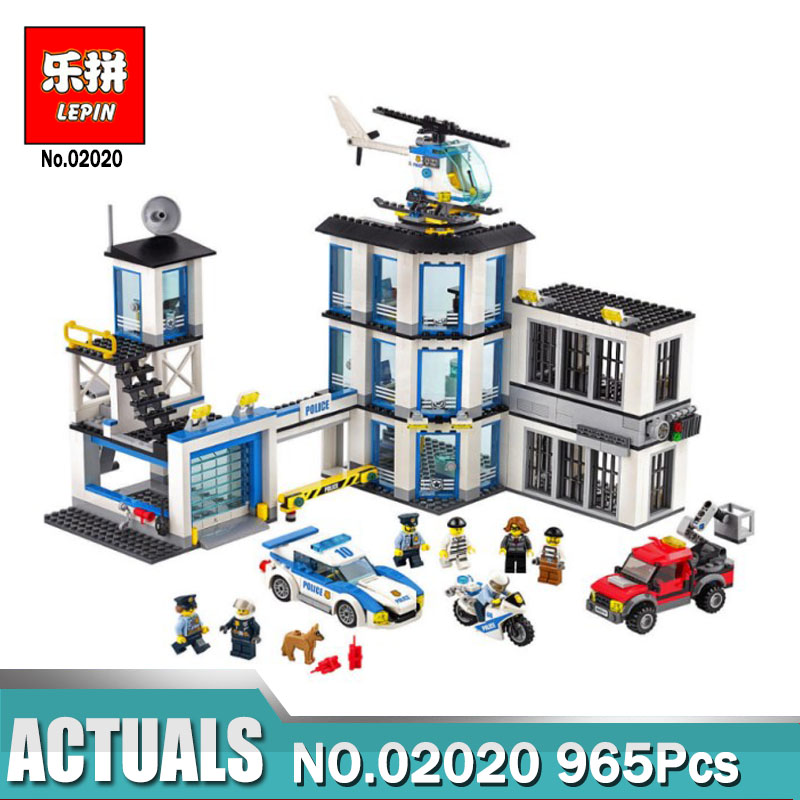 LEPIN 02020 965Pcs City Series The New Police Station Set Compatible Legoing 60141 Building Blocks Bricks Toys for Children 965pcs city police station model building blocks 02020 assemble bricks children toys movie construction set compatible with lego