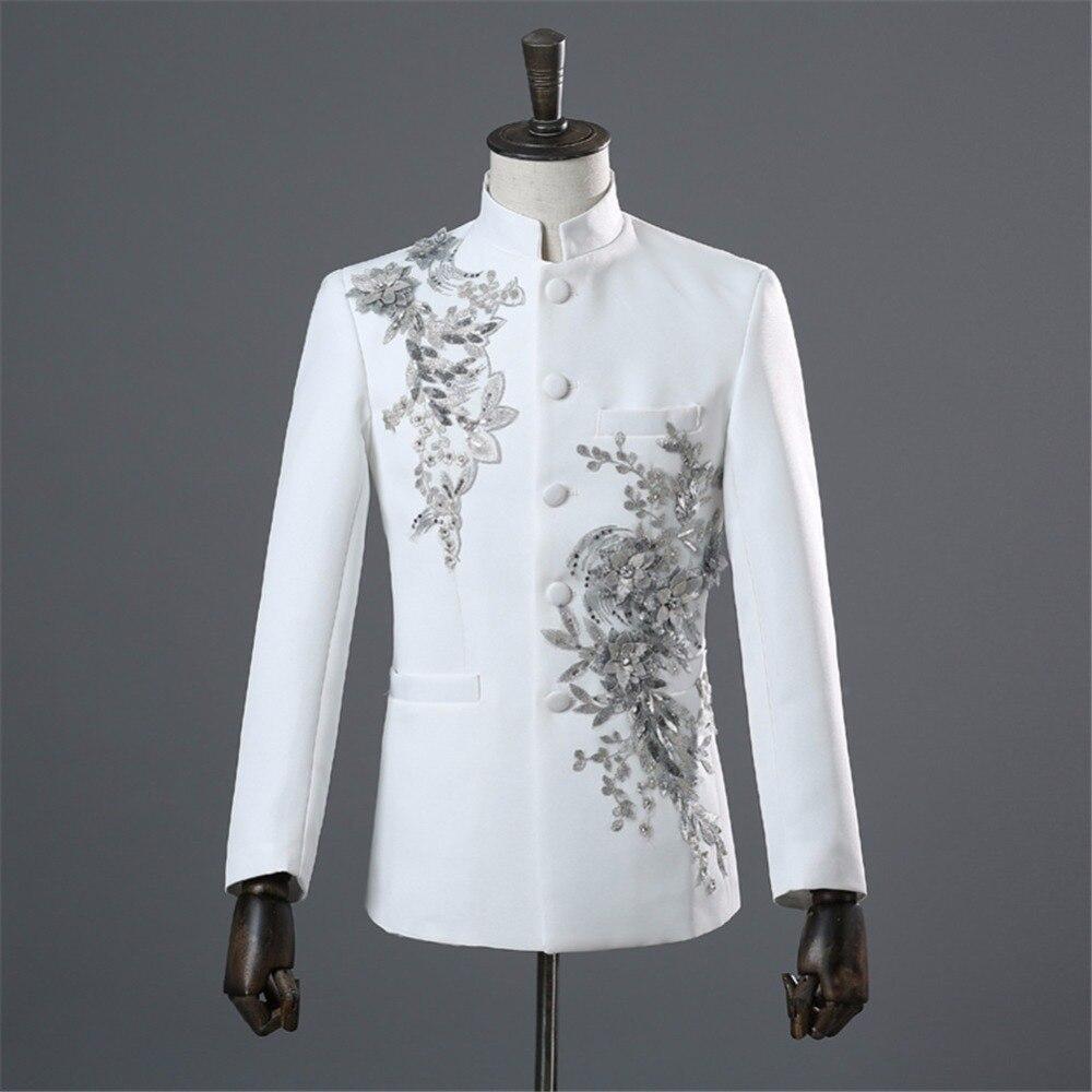 Mandarin Collar Blazer Men Chinese Collar Suit Jacket