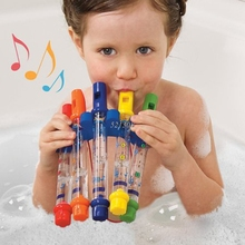 OOTDTY 5pcs 1 Row New Kids Children Colorful Water Flutes Bath Tub Tunes Toy Fun
