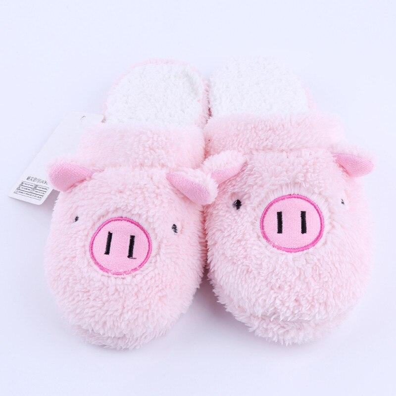Новые зимние женские тапочки; домашняя обувь для женщин; Chinelos Pantufas Adulto; модные домашние тапочки на меху с милым медведем и Свинкой - Цвет: pink