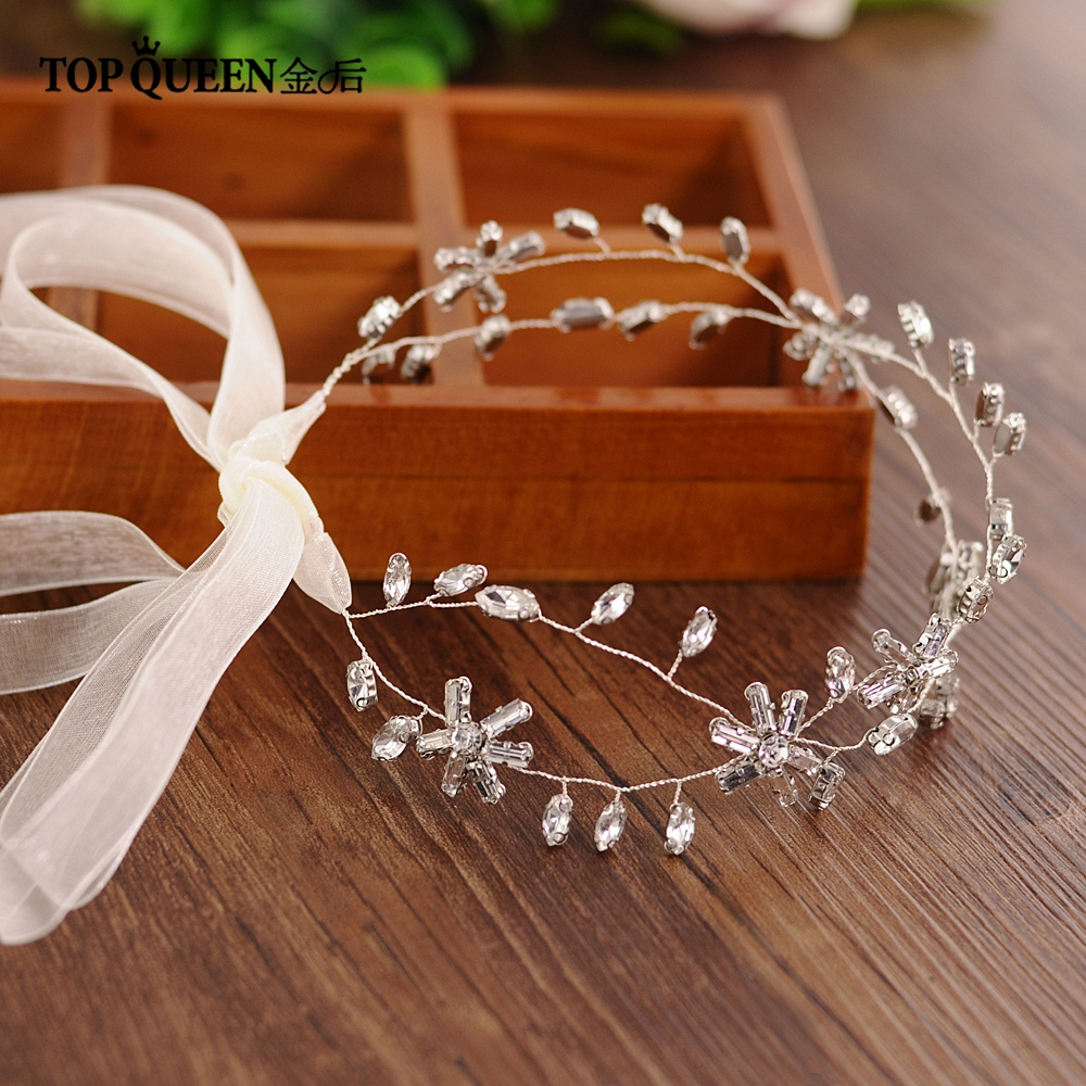TOPQUEEN HP81 Hair Accessories For Bride Crystal Rhinestones Beaded Delicate  Wedding Tiaras  Headdress Headband Hair Jewelry