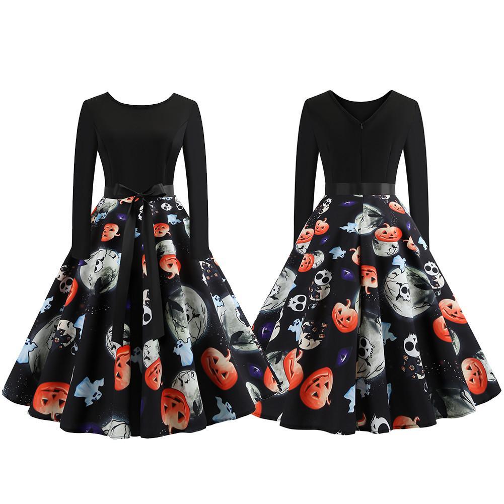 2018 Hot Sale Halloween O-Neck A-Line Swing Dress Designer Female Dress Pumpkin Head Vintage Printing Long Sleeve Flare Dress