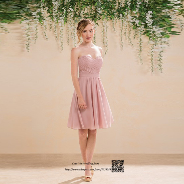 Cheap Short Wedding Party Dresses Pink Lace Knee Length Bridesmaid Dress  2017 Hot Sell Wedding Guest Gown Vestido Madrinha Curto b3c26f2f6452