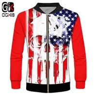OGKB 2018 Spring Fall 3d Skull Sweatshirt Print American Flag Jacket Unisex Hiphop Novelty Funny Long Sleeve Casual Windbreaker