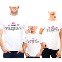 Family Look Clothing Cotton Short Sleeve White T-Shirt Matching Outfits Clothes Super Letter Print Mom Dad Daughter And Son Tees family matching clothes 2018 new letter print t shirt lace shorts set 2pcs dad son sport suit family clothing korean casual sets