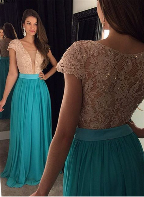 New Smple Chiffon A-Line Square Collar Lace Prom   Dress     Evening     Dress   Floor Length Pleat Sequined Custom made
