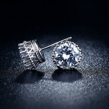 Crown Stud Earrings Luxury white gold filled brincos CZ Diamond jewellery